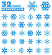 Snowflakes. A Set Of 32 Icons. Vector Illustration