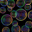 Soap Bubbles On The Black Background