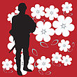 Soldier Silhouette On Bright Red And Powerful Background With Flowers stock illustration