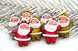 Some Dolls Of Santa Claus Are Together Isolated