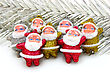 Some Dolls Of Santa Claus Are Together Isolated stock photography