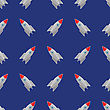 Space Rocket Flying On Blue Sky Background. Seamless Pattern
