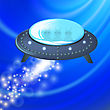 Spaceship Is Fluing. UFO Isolated On Blue Polygonal Background. Aircraft And Visitors Flying On Sky