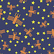 Spaceship Seamless Pattern On Blue. Spacecraft Background. Aliens Fly On Star Sky