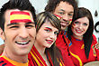 Spanish Soccer Supporters stock photo