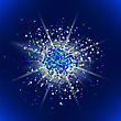 Sparkling Texture. Star Flash. Glitter Particles Pattern. Explosion On Blue Background. Star Dust