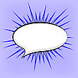 Speech Bubble On Blue Dotted Background. Retro Comic Speech Bubble