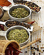 Spices And Herbs On A Wooden Table stock photo
