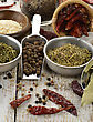 Spices And Herbs On A Wooden Table stock image