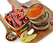 Spices Assortment On A Cutting Board, Close Up stock photography