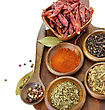 Spices Assortment On A Cutting Board, Top View stock photography
