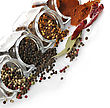 Spices Assortment In The Glass Jars stock photo