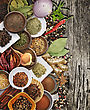 Spices And Herbs On Rusty Old Wood stock photography