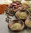 Spices In Wooden Bowls,Close Up stock image