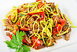Spicy Salad Of Grilled Beef With Pepper, Marinated Cucumbers, Onion, Apple And Champignons