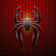 Spider Icon On Red Metal Perforated Background