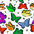 Spiders, Bugs, Flies And Butterflies Seamless Background stock vector