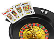 Playful Spin Casino Roulette, Dice And Playing Cards. Isolated Over White stock photography