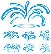 Splash Of Sparkling Blue Water Drops. Vector Illustration stock illustration