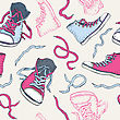 Sport Shoes. Sneakers. Hand Drawn Seamless Vector Background