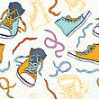 Sport Shoes. Sneakers. Hand Drawn Seamless Vector Background stock illustration