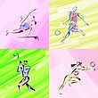Exercise Sport Sketches In Watercolor stock illustration