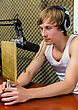 Sportsman With A Prize On The Radio Station stock image