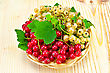 Sprigs Of Red And White Currants With Green Leaves In A Wicker Tray On A Light Wooden Board