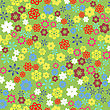 Spring Colored Flower Seamless Pattern On Green Background