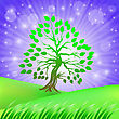 Spring Green Tree On Starry Sky Background