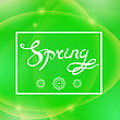 Spring Lettering Design.Green Banner With A Textured Abstract Blurred Flare Background And Text In Square Frame