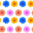 Spring Pink Blue Yellow Flowers Isolated On White Background. Seamless Colorful Flower Pattern