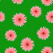 Spring Red Flower Seamless Pattern On Green Background