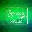 Spring Sale Lettering Design.Green Banner With A Textured Abstract Blurred Flare Background And Text In Square Frame