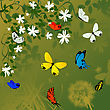 Spring Time Background With Flowers And Butterflies stock illustration