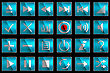 Square Blue Control Panel Icons Or Buttons Isolated On Black