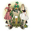 St.Patrick Day Girls And Gnom stock vector