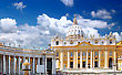 Sightseeing St. Peter's Basilica, St. Peter's Square, Vatican City. Panorama stock photo