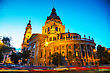 St. Stephen Basilica In Budapest, Hungary In The Evening stock photography