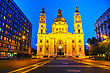 St. Stephen Basilica In Budapest, Hungary In The Evening stock image
