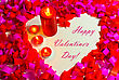 St. Valentine's Day Greeting Background With Four Burning Candles stock photography
