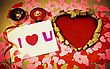 St. Valentine's Day Greeting Background With Two Burning Candles stock photography