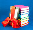 Stack Of Books & Tablet Wrapped In A Red Bow