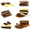 Stack Of Different Chocolates, Lots Of Grated Chocolate, Slices Of White And Dark Chocolate, Hazelnut Kernels stock photo