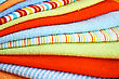 Stack Of Colorful Towels As A Background. stock photo