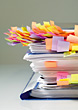 Stack of Paper with Sticky Notes stock photo