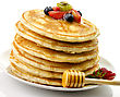 Stack Of Pancakes With Honey And Berries stock image