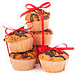 Stacked Muffins Isolated On White Background stock photo