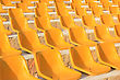 Stadium Yellow Chairs At Sun Light stock image