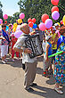 Staraya Russa, Russia - July 9: Unknown Man With Accordeon At The Parade On City Day Staraya Russa On July 9, 2011 In Staraja Russa, Russia. stock photo